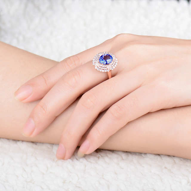 ecf4cd28f Genuine Blue Tanzanite Ring Real Diamonds In Solid 18K Rose Gold  Anniversary Loving Jewelry For Sale-in Rings from Jewelry & Accessories on  Aliexpress.com ...