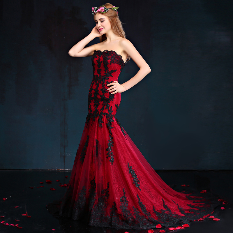 Wine Red Black Lace Wedding Dress 2017 New Elegant Top Fish Tail Flowers Slim Bride Formal Tailor Made In Bridesmaid Dresses From Weddings