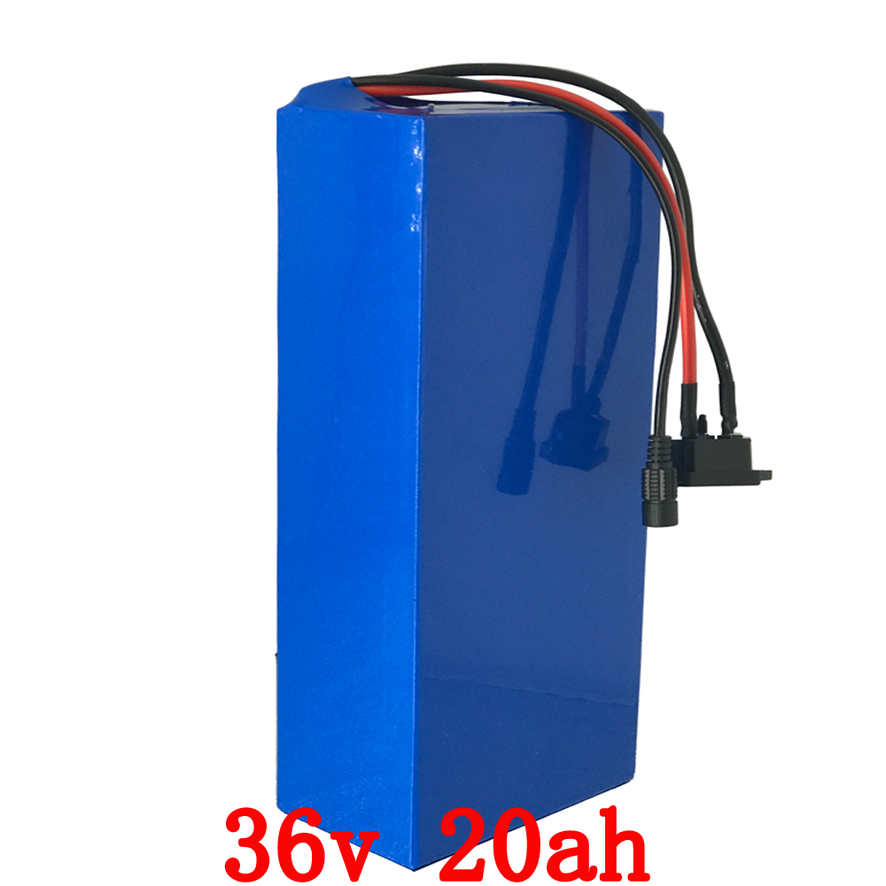 Free shipping 1000W 36V 20AH Electric Bicycle Battery 36V Lithium Battery 36V 20AH E-bike battery 30A BMS 2A charger hot sale bottom discharge electric bike 36v 8ah li ion battery 36v 8ah electric bicycle silver fish battery with charger bms