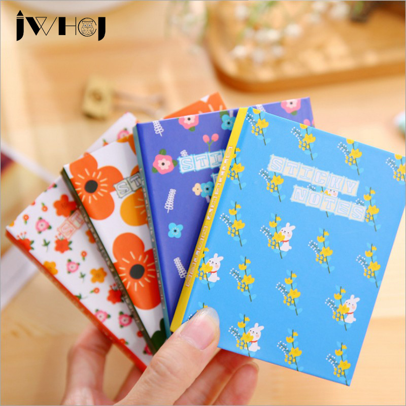 1x Colorful flowers hardcover memo pad post it notepad sticky notes kawaii stationery diary notebook office school supplies