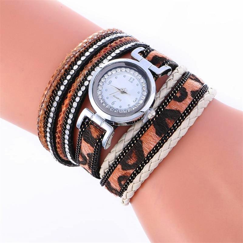 Montre Watch Hot Sale Wrap Around Fashion Weave Leather Bracelet Lady Womans Wrist Watch Drop Shipping Sep13