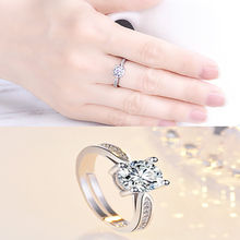 Fashion Classic Six Claw Zircon Crystal Rings Silver Color Wedding Ring for Womens Engagement Dropshipping