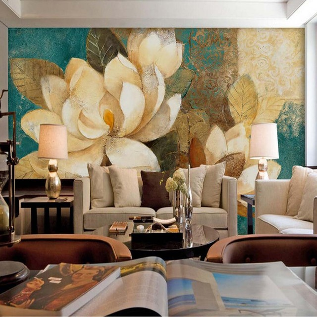 Vintage Waterlily Floral Wallpaper HD Printing Wall Mural for Sofa