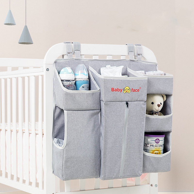Portable Baby Crib Organizer Bed Hanging Bag for Infant Bed Accessories Essentials Diaper Storage Box Cradle