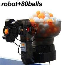 מקצועי טניס שולחן רובוט פינג פונג מכונת נייד חסכוני משולבת רובוטים (משלוח 80pcs כדורי מהיר חינם)