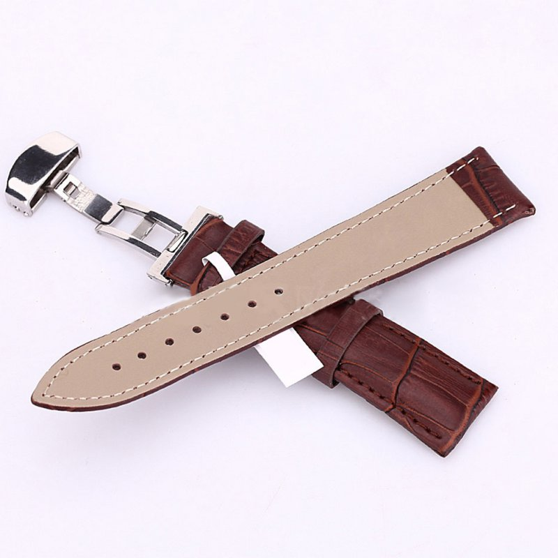 Kol Saati Women Men Watch Band Strap Butterfly Pattern Deployant Clasp Buckle + Leather Watchband Mira La Banda 18-24mm