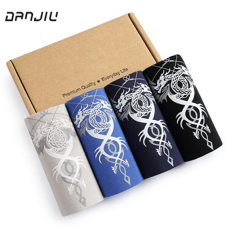 Hot New Fashion Sexy Modal Men's Boxers Shorts Thin Breathable Underwears Mans Comfortable Panties Wolf Dragon Male Underpants