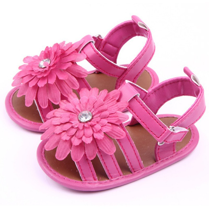 Baby Toddler Flower Walking Sandals Kid Girl Pu Leather Slip-On Crib Shoes Summer Childr ...