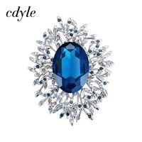 Cdyle Crystals from Swarovski Brooches Women Austrian Rhinestone Fashion Jewelry Elegant Chic Blue Red Classic Round Luxury Lady