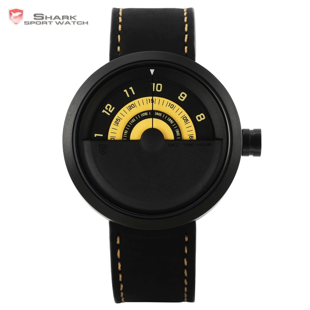 Bonnethead Shark Sport Watch Yellow Men Relogio Masculino Rotate Contrast Crazy Horse Leather Wrist Creative Watches Clock/SH423