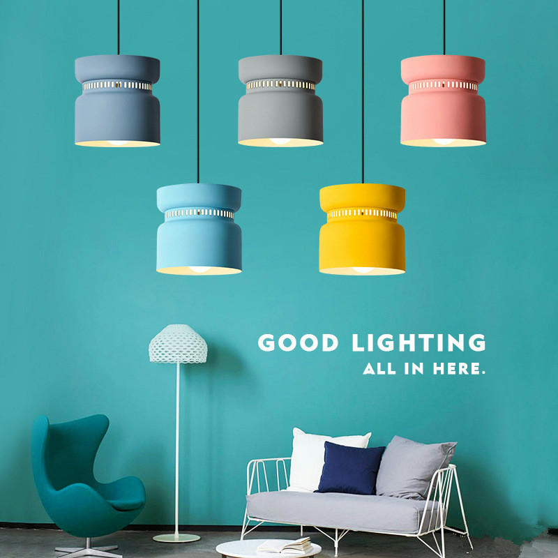 Creativity Postmodern Restaurant Pendant Lamp Nordic Hot Pot Shop Lamp Personality Macaron Lamp Coffee Shop  Lamp Free Shipping