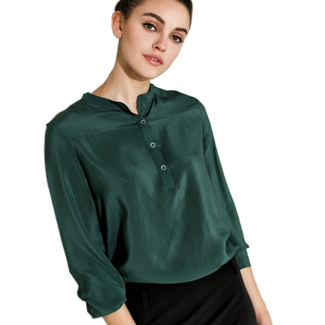100% Pure Silk Women's Shirts Long Stand Collar Women Half-Open Buttons Shirt Wild Long Sleeve Female Solid Dark Green Woman