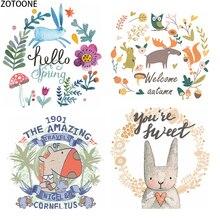 ZOTOONE Цветочные нашивки в форме животных для одежды Сделай Сам Тепловая передача термопечати для футболок Наклейки Аппликации железные наклейки подарки