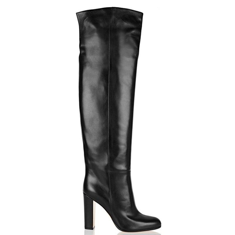 Las Mujer Diseñador Cuero Zapatos Negro En Moda Invierno Rodilla Chunky Tacones Mujeres Otoño De Altos Botas Deslizamiento AZvzwnqx