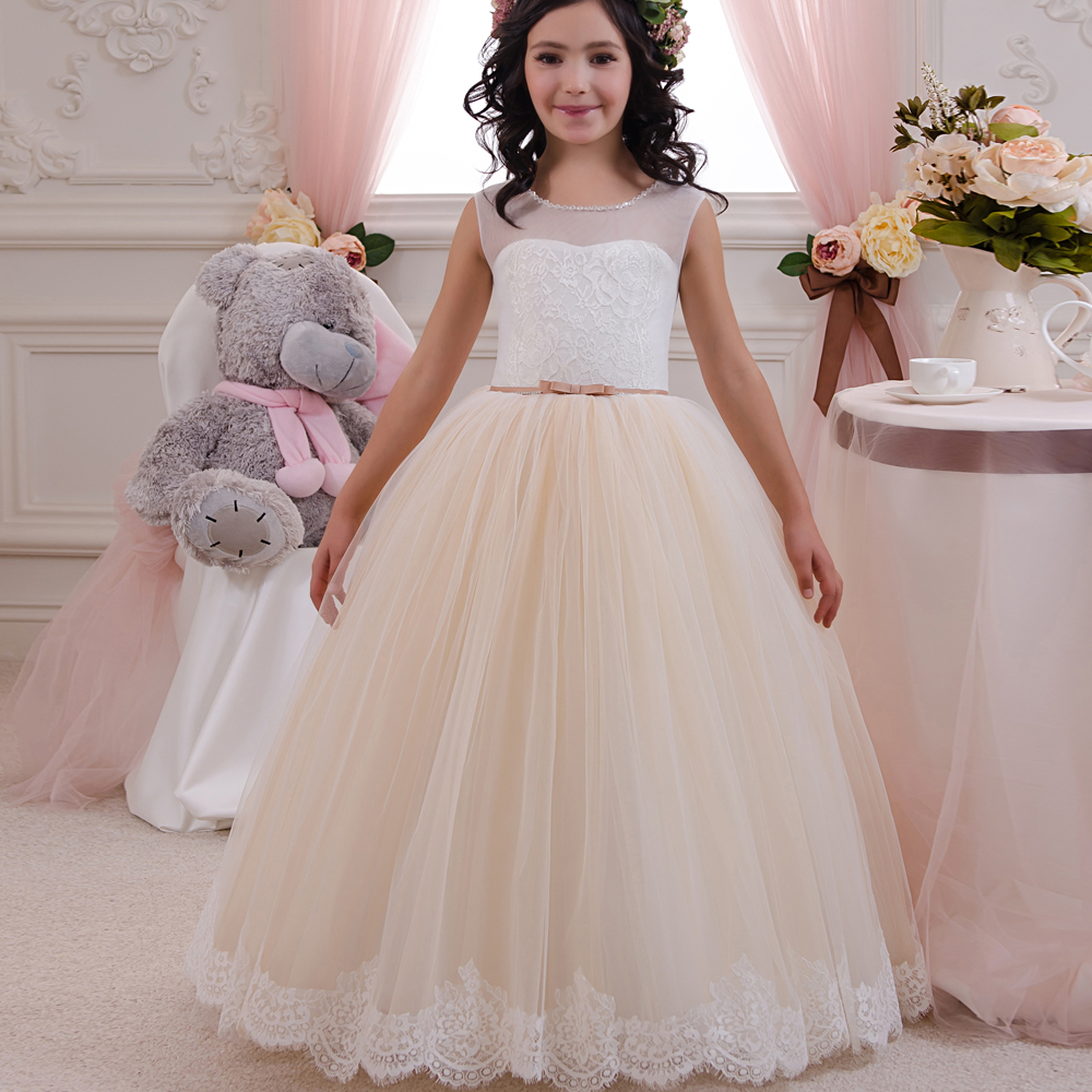 Pageant Dresses for Little Girls Lace Appliques Sleeveless Beading Zipper Back Floor Length Ruffle Kids Toddler Ball Gowns 0-14Y gorgeous lace beading sequins sleeveless flower girl dress champagne lace up keyhole back kids tulle pageant ball gowns for prom