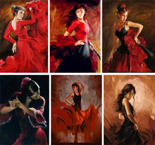 Modern Abstract Painting Woman Portrait Canvas art Spanish Dancer Tango Hand Painted figurative Oil paintings for room decor