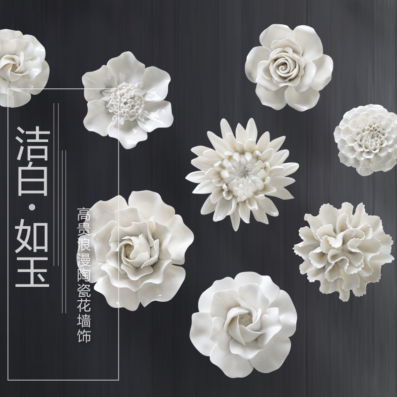 White Peony Rose Decorative Wall Flower Dishes Porcelain