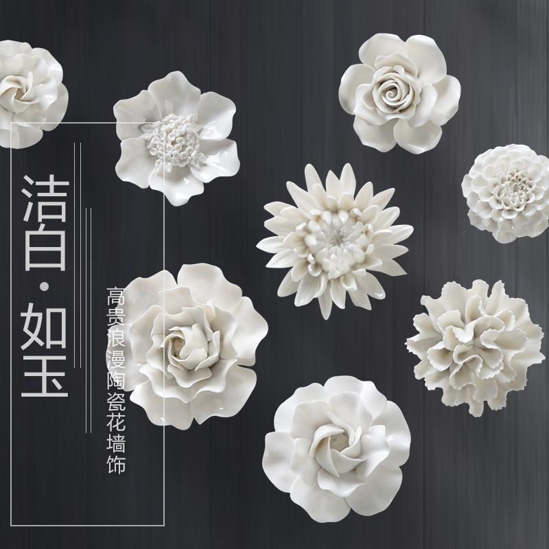 White Peony Rose Decorative Wall Flower Dishes Porcelain Decorative