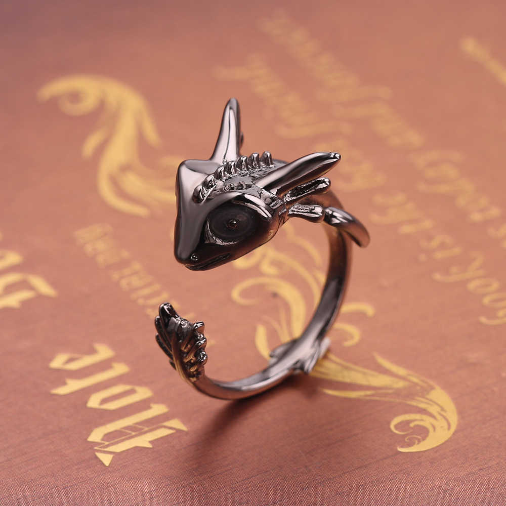 Fashion Noctilucence Dragons Ring Cute Night Black Fury Dragon Ring Cute Adjustable Movie Jewelry For Men Women Charm Accessorie