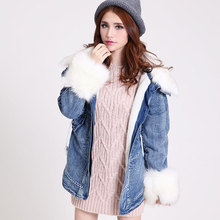2016 new autumn and winter women Slim thicker denim cotton wool fur collar and long sections