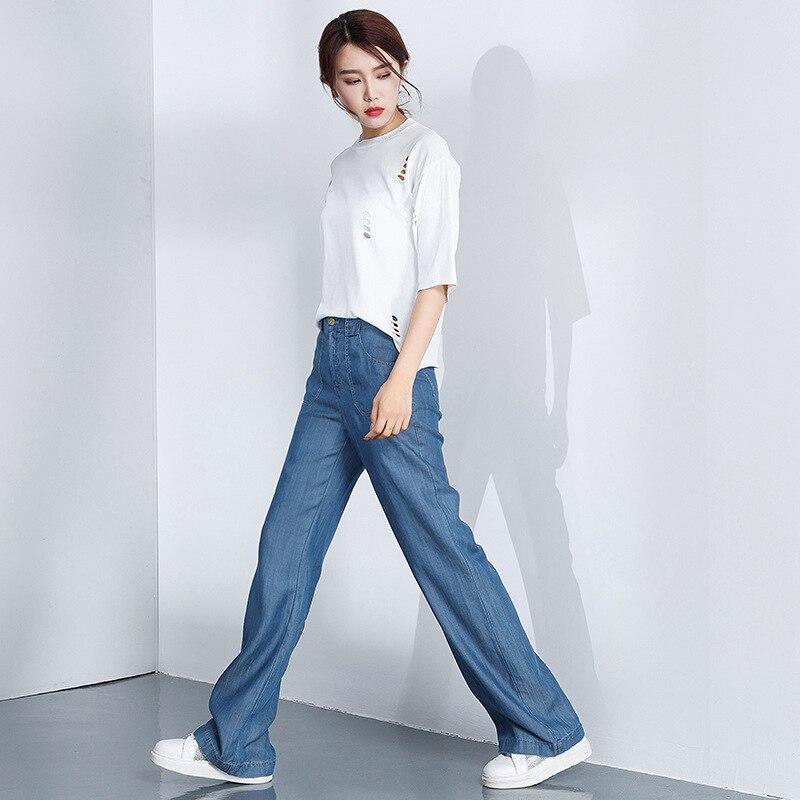 Makuluya lato jesień moda wiosna kobiety casualowe spodnie jeansowe szerokie nogawki Tencel dżinsy kobiece wysokiej talii w stylu Vintage L6 w Dżinsy od Odzież damska na  Grupa 3