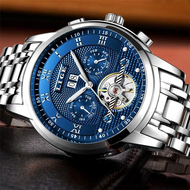 LIGE Mens Watches Fashion Top Brand Luxury Business Automatic Mechanical Watch Men Casual Waterproof Watch Relogio Masculino+Box 3