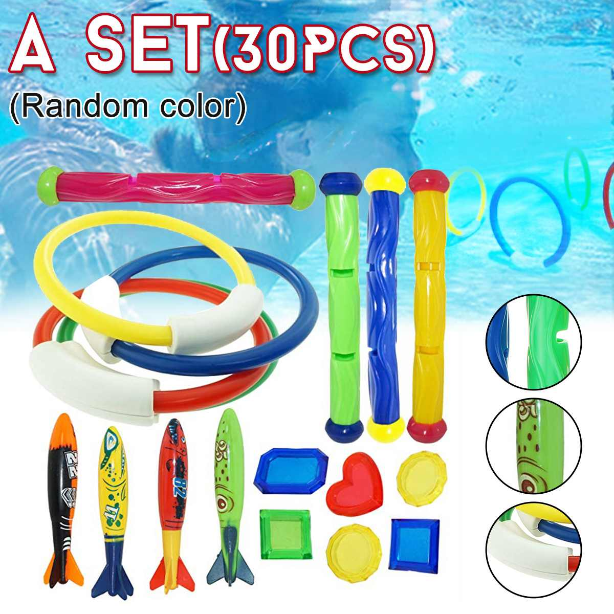 Circle-Set Game Diving-Toys Throwing Beach-Toy Underwater-Rings Multicolor Summer Playing