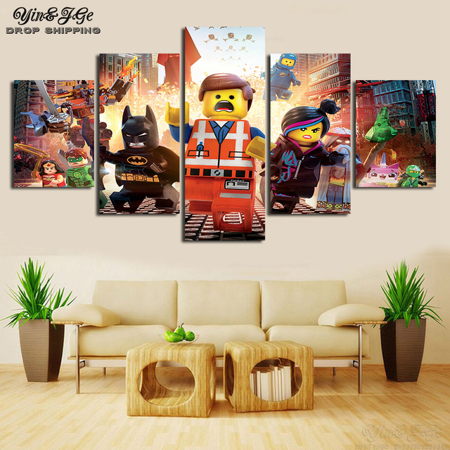 Animation Canvas Printed Poster Wall 5 Pieces Movie Cartoon Figure Modular Pop Picture Artworks Decor Kids Room Painting Frames