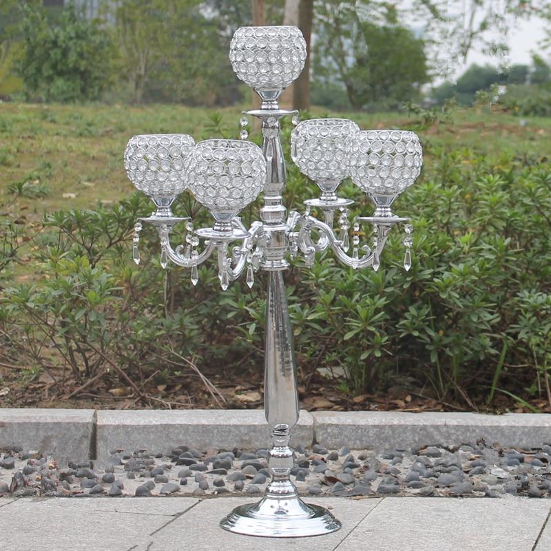 Top 76cm hündürlüyündə 5 qolu metal şamdanlar, büllur - Ev dekoru - Fotoqrafiya 3