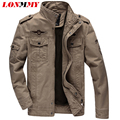 LONMMY M-6XL Cotton mens jackets and coats man Army Military jacket mens Bomber jacket men coat brand clothing windbreakerWinter