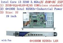 1U firewall server 2G RAM 8G SSD with 6*1000M 82583V Gigabit Intel CORE I3 3240 3.4G support ROS Mikrotik PFSense Panabit Wayos