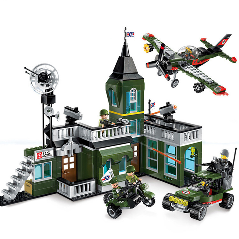 627pcs Children s educational building blocks toy Military series Compatible city Fighter bombing command Headquarters