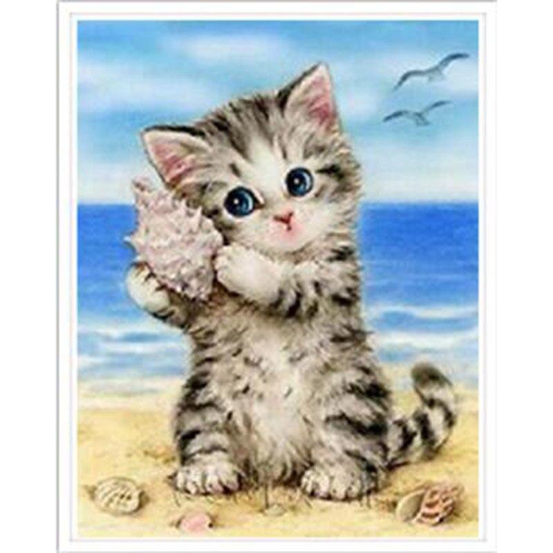 ציור יהלומי 5D יהלומי תפר צלב רקמת חתול מלא כיכר Rhinestones מחט קרפט & אמנות קישוט בית דפוס YY