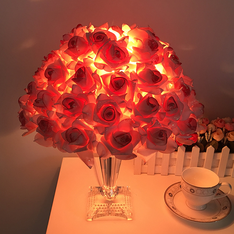 Romantic rose crystal table lamps warm living room study bedroom bedside lamp wedding gift red/pink table lights ZA romantic wedding gift table lamps cloth iron for bedroom bed lamp warm living room lighting decorative table lights za