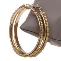 YYW aro pendiente al por mayor Pirce mujeres Punk joyería línea vidrio semillas cuentas oro-color 55MM gran círculo redondo pendientes