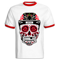 Chicago Blackhawks Sugar Skull Ringer T Shirts Tumblr Graphic Printed Personalized Tops Tee