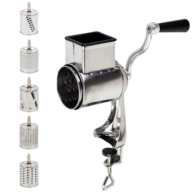 Multi funcional cozinha rotary nut & frutas fatiador ralador de queijo shredder vegetal com 5 tambores de cozinha helicóptero