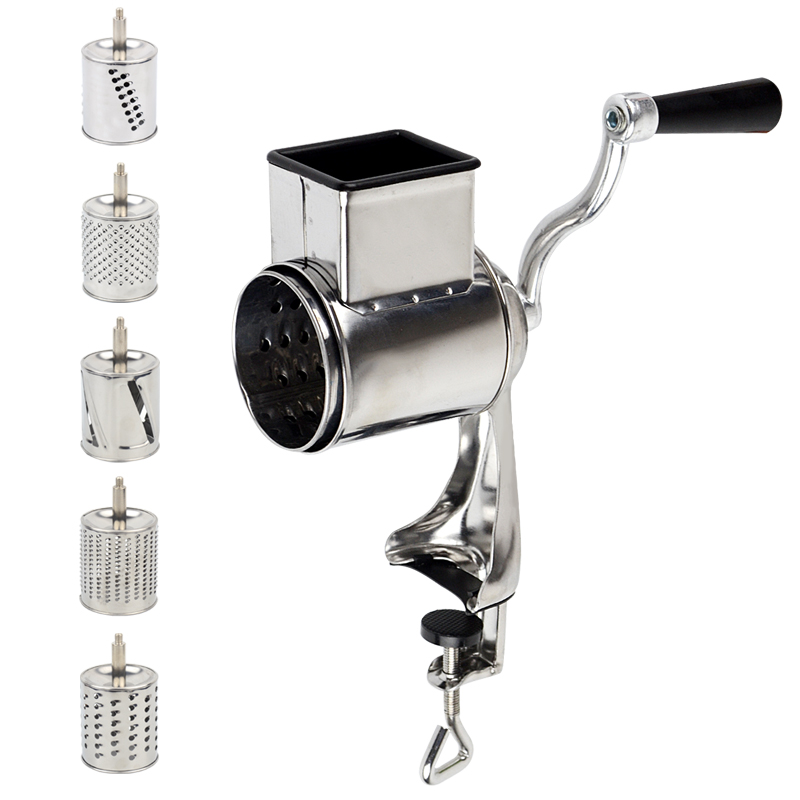 Multi functional kitchen rotary nut & cheese grater vegetable shredder fruits slicer with 5 drums kitchen chopperMulti functional kitchen rotary nut & cheese grater vegetable shredder fruits slicer with 5 drums kitchen chopper