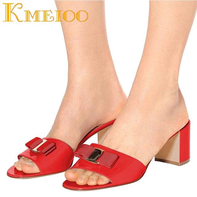 Kmeioo 2018 Fashion Ladies Shoes Bowtie Sandals Block Heel Mule Sipper Slip On Mules Dress Casual Woman Shoes 5.5 CM