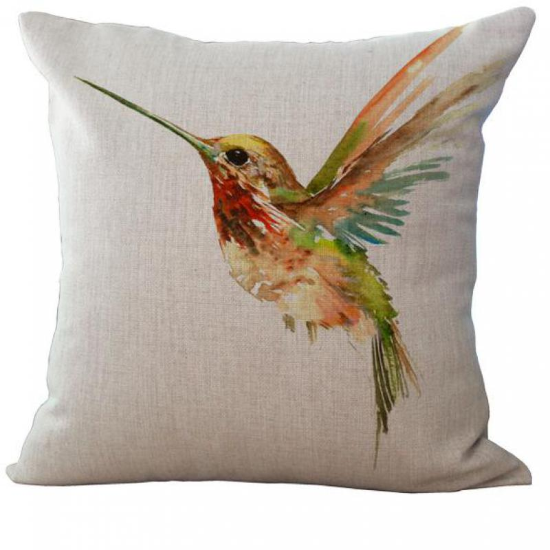 Factory Direct Supply Ink Painting Colorful Small Bird Linen Cushion Home Sofa Chair Seat Backrest Pillow Wholesale