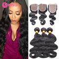 Grace Hair Products with Closure Grade 8A Unprocessed Cambodian Virgin Hair with Lace Closure 3 Bundles Body Wave with Closure
