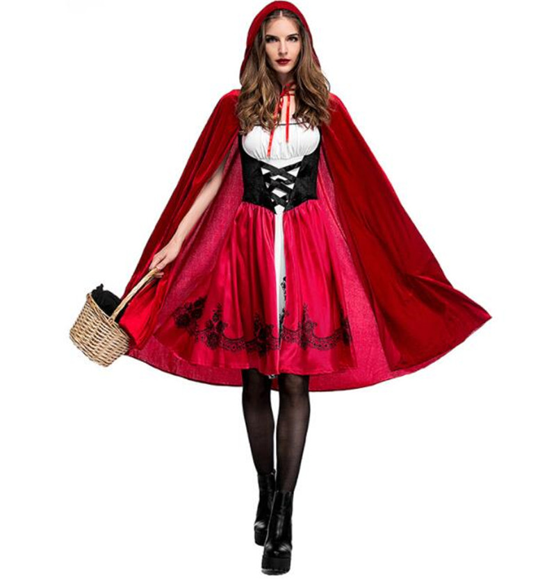 Adult Women Halloween Costume Little Red Riding Hooded Robe Lady Embroidery Dress Party Cloak Outfit A027