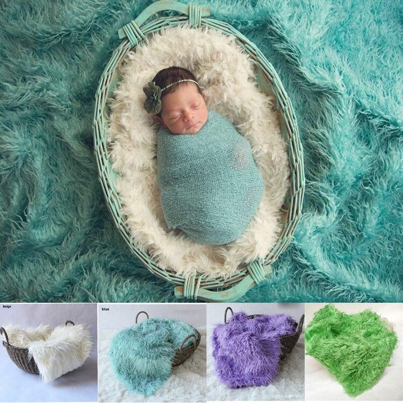где купить Newborn Photography Props Blankets Soft Long Fur Basket Filler.Baby Plush Blanket Br Fotografia Backdrop дешево