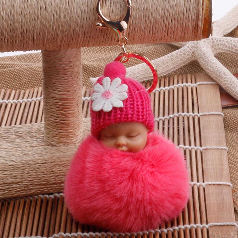 ... Sleeping Baby Doll Keychain Fur PomPon Rabbit Hairball Ball Car Keyring  Baby Toy Car Key Holder ... 7f1a339695a8