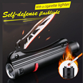 Super Cool and Bright Flashlight 3 Stalls Adjustable With Cigarette Lighter Self-defense Weapons Multi-purpose Flashlight knife