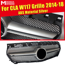 W117 CLA Sport grille grills Without Sign ABS Silver +Two fin chrome For MercedesMB CLA180 CLA200 CLA250 CLA45 look 14-18