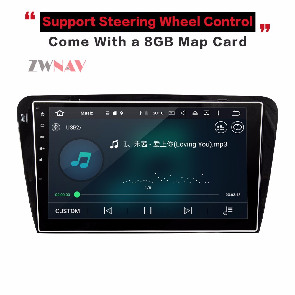 Android 8.0 8 Core Car GPS Navigation Auto Radio DVD Player Head Unit For Skoda Octavia 2014 2015 2016 2017 ISP Screen