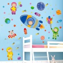 [shijuekongjian] Cartoon Astronauts Rockets Planets Wall Stickers PVC DIY Decals for Kids Rooms Kindergarten Decoration