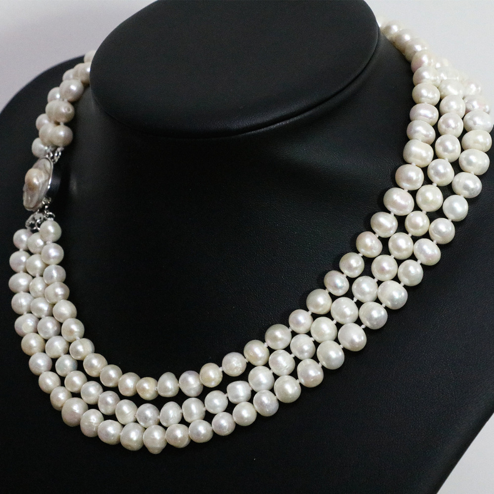 Fashion white freshwater natural pearl 3 rows necklace round beads 7-8mm mother shell clasp jewelry 17-19inch B1475Fashion white freshwater natural pearl 3 rows necklace round beads 7-8mm mother shell clasp jewelry 17-19inch B1475