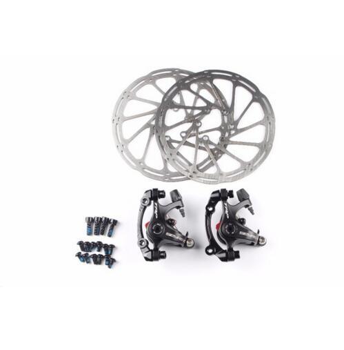TRP Spyre pour vélo de route vélo Alliage Frein À Disque Mécanique Set Avant et Arrière Comprennent 160mm Axe rotor
